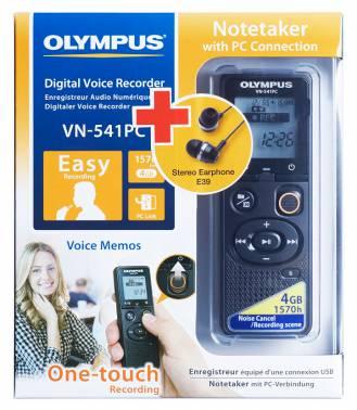 Диктофон Цифровой Olympus VN-541PC + E39 Earphones 4Gb черный