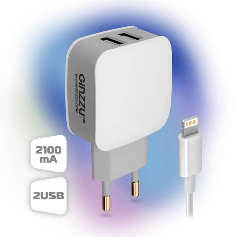 Сетевое зар./устр. Ginzzu GA-3010UW 2.1A универсальное кабель Apple Lightning белый