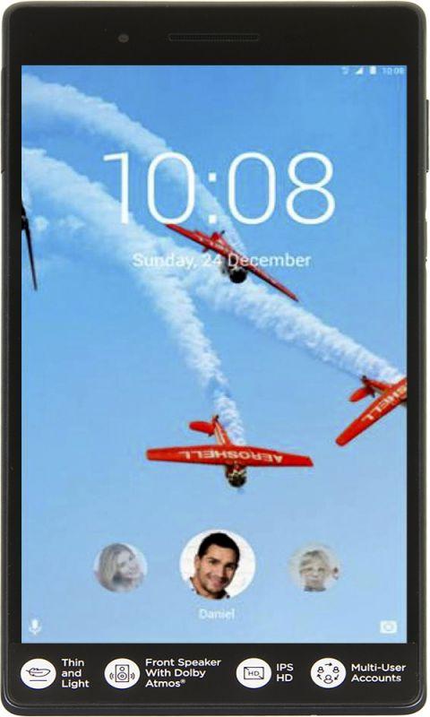 "Планшет Lenovo Tab 7 TB-7504X MT8735B (1.3) 4C/RAM1Gb/ROM16Gb 7"" IPS 1280x720/3G/4G/Android 7.0/черный/5Mpix/2Mpix/BT/GPS/WiFi/Touch/microSD 128Gb/minUSB/3500mAh/10hr"