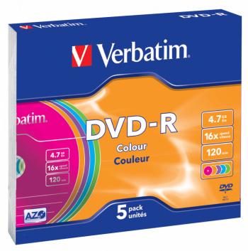 Диск DVD-R Verbatim 4.7Gb 16x Slim case (5шт) Color (43557)