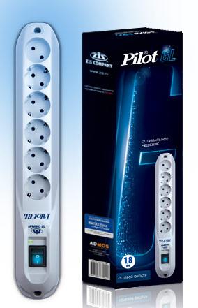 Сетевой фильтр Pilot GL 1.8м (6 розеток) белый (коробка)