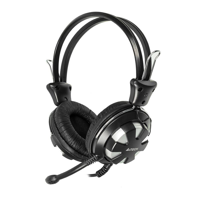 Наушники с микрофоном A4 HS-28 серебристый/черный 1.8м мониторы оголовье (HS-28 (SILVER BLACK))