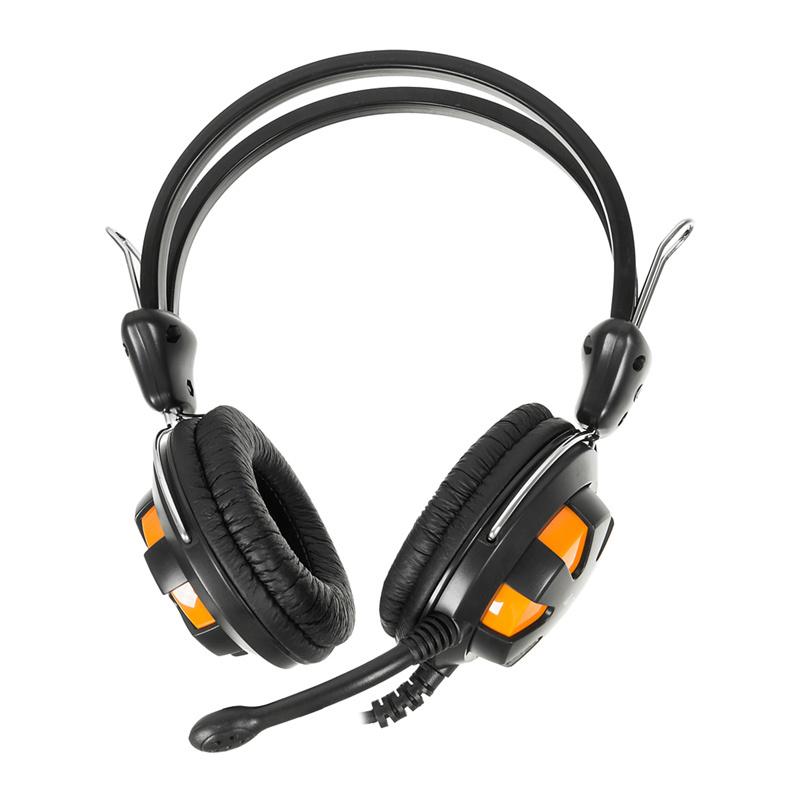 Наушники с микрофоном A4 HS-28 оранжевый/черный 1.8м мониторы оголовье (HS-28 (ORANGE BLACK))