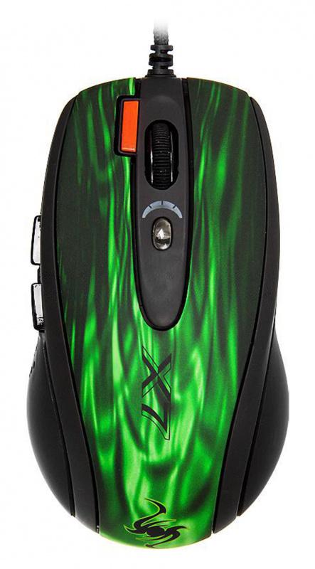 Мышь A4 XL-750BK зеленый/черный лазерная (3600dpi) USB2.0 игровая (6but)