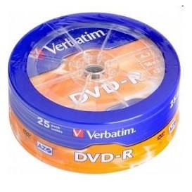 Диск DVD-R Verbatim 4.7Gb 16x Cake Box (25шт) (43730)