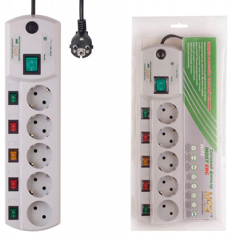 Сетевой фильтр Most ERG 5м (5 розеток) белый (коробка)