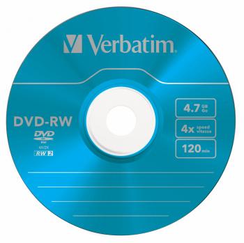 Диск DVD-RW Verbatim 4.7Gb 4x Slim case (5шт) Color (43563)