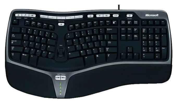 Клавиатура Microsoft 4000 черный/серебристый USB Multimedia Ergo (подставка для запястий)