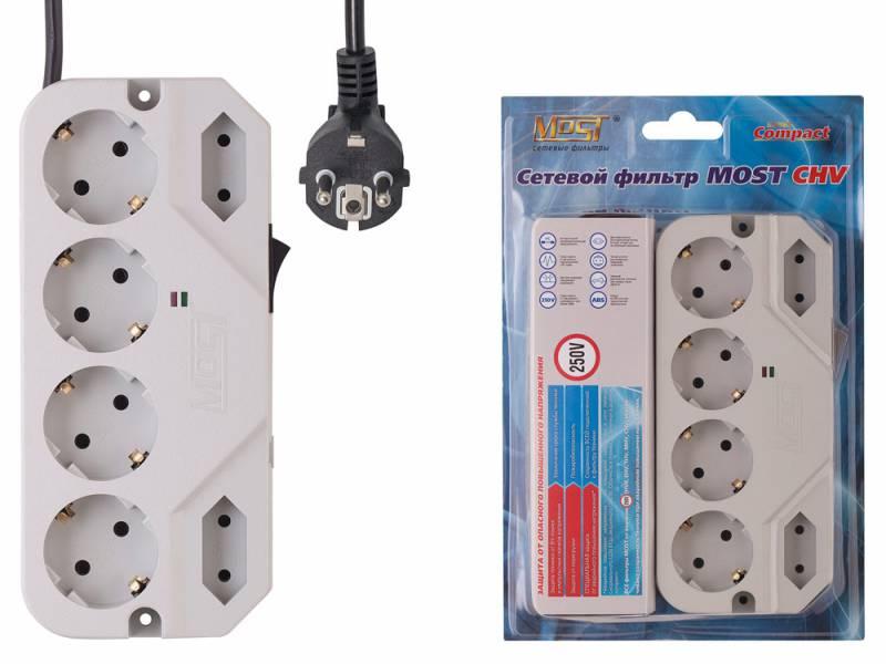 Сетевой фильтр Most СHV 2м (6 розеток) белый (коробка)