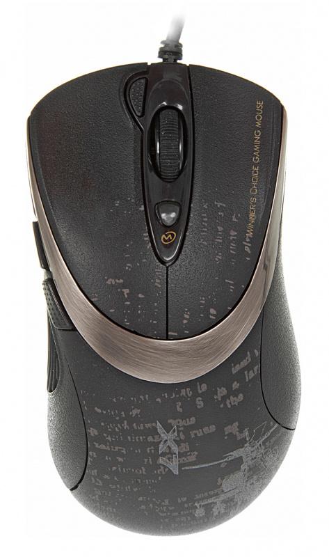 Мышь A4 V-Track F4 черный оптическая (3000dpi) USB игровая (6but)