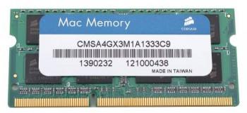 Память DDR3 4Gb 1333MHz Corsair CMSA4GX3M1A1333C9 RTL PC3-10600 CL9 SO-DIMM 204-pin 1.5В