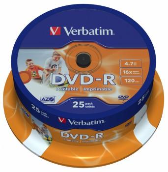 Диск DVD-R Verbatim 4.7Gb 16x Cake Box (25шт) Printable (43538)