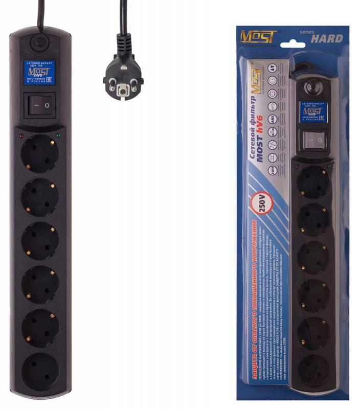 Сетевой фильтр Most HV6 5м (6 розеток) черный (коробка)