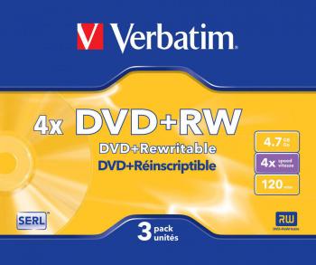 Диск DVD+RW Verbatim 4.7Gb 4x Slim case (3шт) (43636)