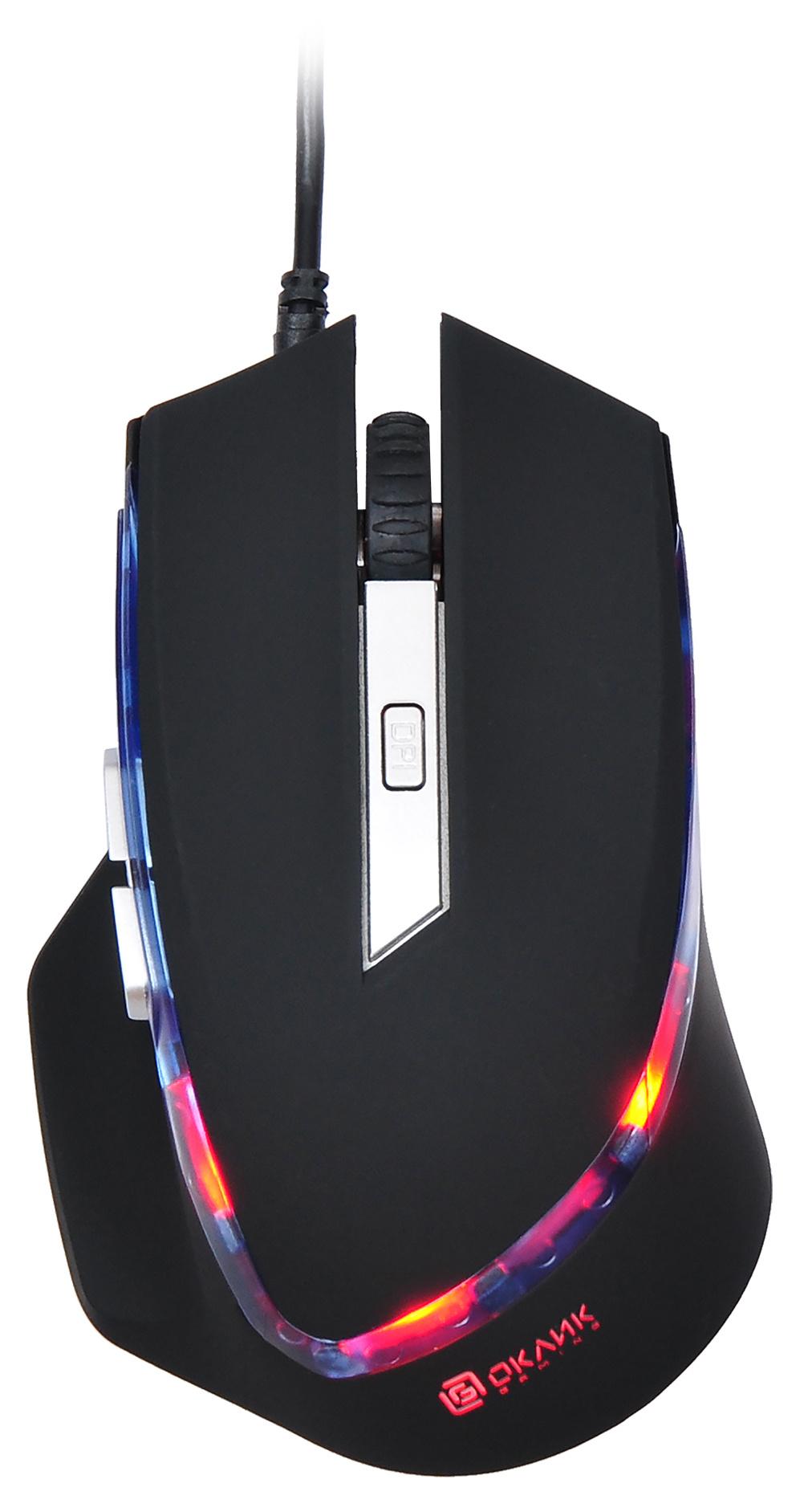 Мышь Oklick 715G черный оптическая (1600dpi) USB игровая (6but)
