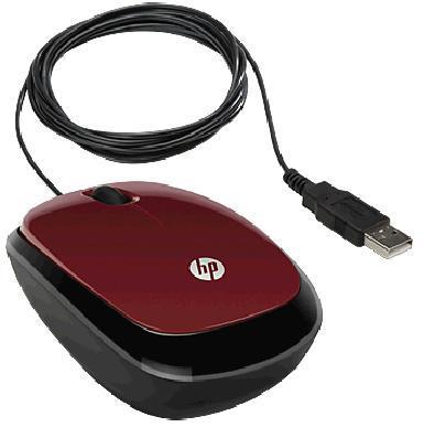 Мышь HP X1200 красный оптическая (1200dpi) USB (2but)