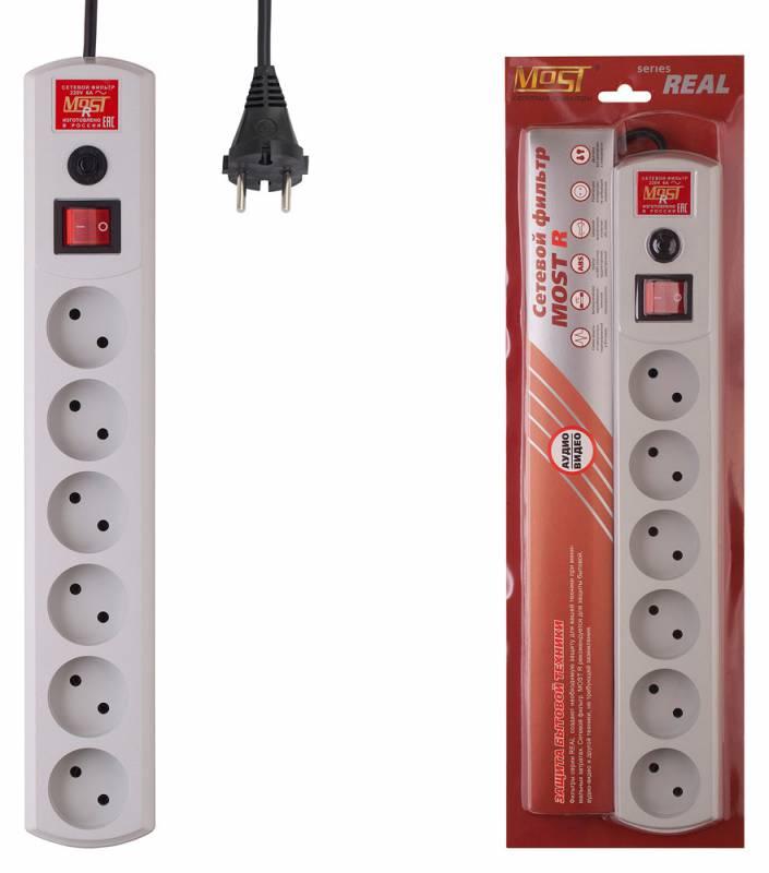 Сетевой фильтр Most R 7м (6 розеток) белый (коробка)