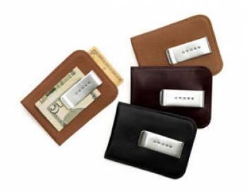 Футляр Cross для визитных и кредитных карточек кожаный перфорированный с зажимом для банкнот черный
