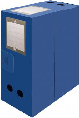 Короб архивный вырубная застежка Бюрократ -BA100/08BLUE пластик 0.8мм корешок 100мм 330х245мм синий
