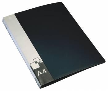 Папка на 2-х кольцах Бюрократ -0812/2RBLCK A4 пластик 0.8мм кор.40мм внут.и торц.карм черный