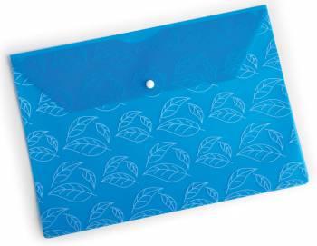 "Конверт на кнопке Бюрократ -PK810BLU A4 с рисунком ""Листочки"" пластик 0.18мм синий"