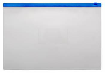 Папка на молнии ZIP Бюрократ -BPM4ABLUE A4+ полипропилен 0.15мм карм.для визит. цвет молнии синий
