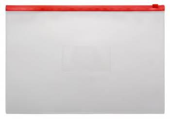 Папка на молнии ZIP Бюрократ -BPM4ARED A4+ полипропилен 0.15мм карм.для визит. цвет молнии красный