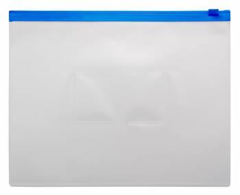 Папка на молнии ZIP Бюрократ -BPM5ABLUE A5 полипропилен 0.15мм карм.для визит. цвет молнии синий