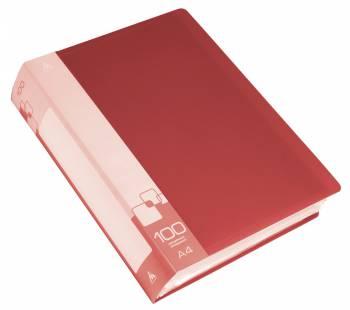 Папка с 100 прозр.вклад. Бюрократ -BPV100RED A4 пластик 0.8мм торц.карм с бум. встав красный