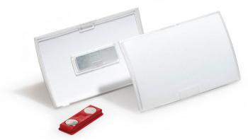 Бейдж Durable 8212-19 Click Fold 40x75мм магнитный полипропилен прозрачный (упак.:10шт)