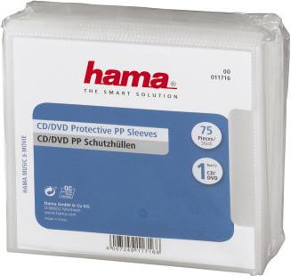 Конверт Hama на 1CD/DVD H-11716 прозрачный (упак.:75шт)