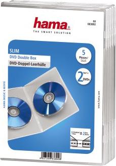 Коробка Hama на 2CD/DVD H-83892 Slim Case прозрачный (упак.:5шт)