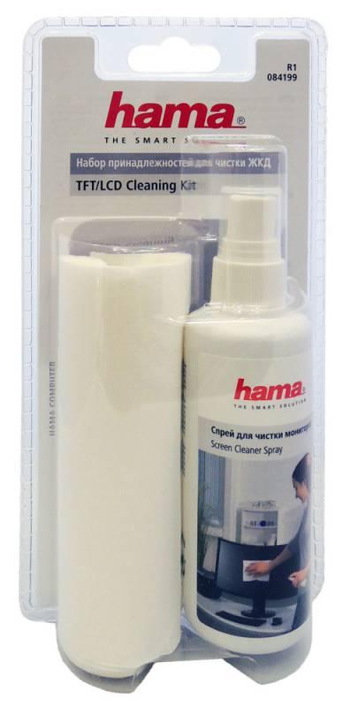 Чистящий набор (салфетки + спрей) Hama R1084199 для экранов мониторов/плазменных/ЖК телевизоров/ноутбуков блистер 15шт сухих 100мл