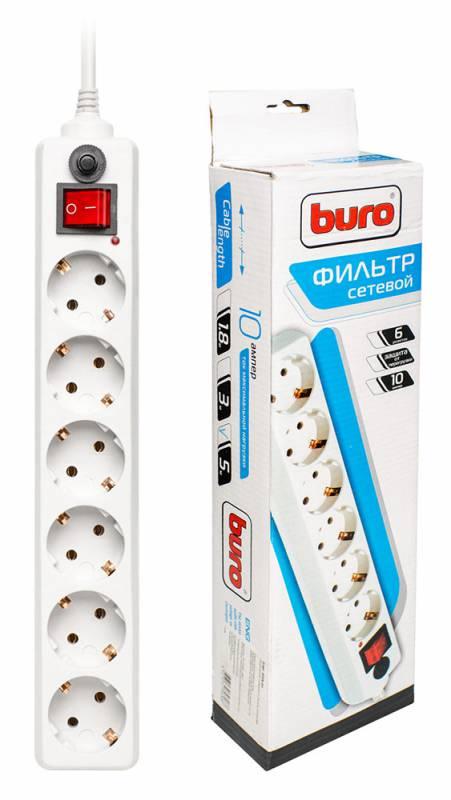 Сетевой фильтр Buro 600A-5M 5м (6 розеток) белый