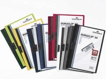 Папка с клипом Durable Duraclip 220032 прозрач. верх.лист A4 1-30лист. темно-зеленый