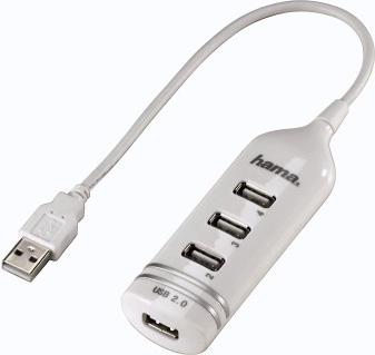 Разветвитель USB 2.0 Hama Round1:4 4порт. белый (00039788)