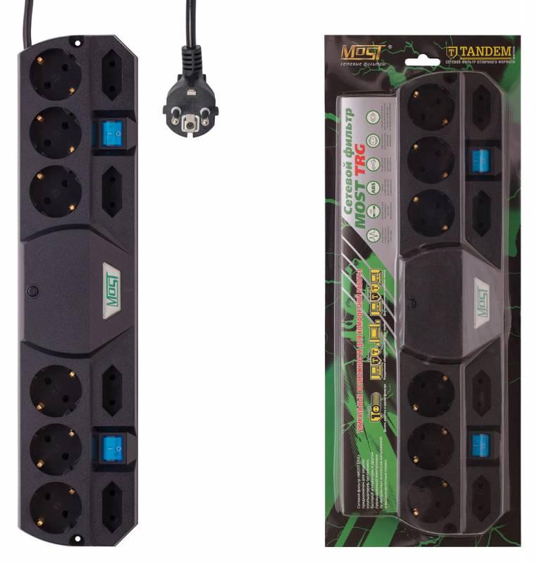 Сетевой фильтр Most TRG 2м (10 розеток) черный (коробка)