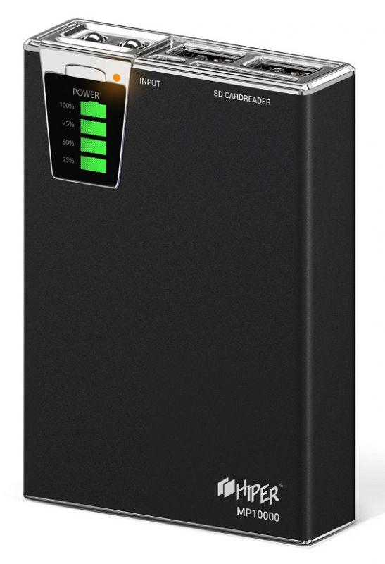 Мобильный аккумулятор Hiper MP10000 Li-Ion 10000mAh 2.1A+1A черный 2xUSB