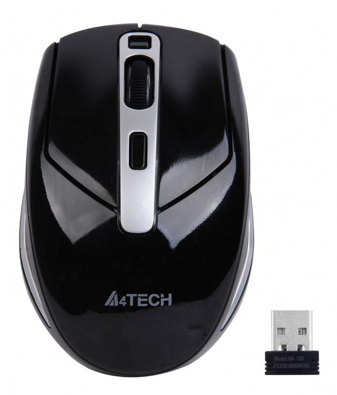 Мышь A4 V-Track G11-590FX-1 черный/серебристый оптическая (2000dpi) беспроводная USB (6but)