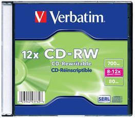 Диск CD-RW Verbatim 700Mb 12x Slim case (20шт) (43762)