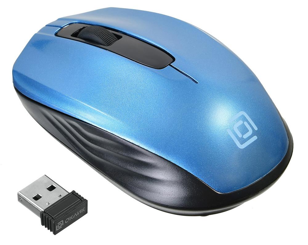 Мышь Oklick 475MW черный/синий оптическая (1200dpi) беспроводная USB (2but)