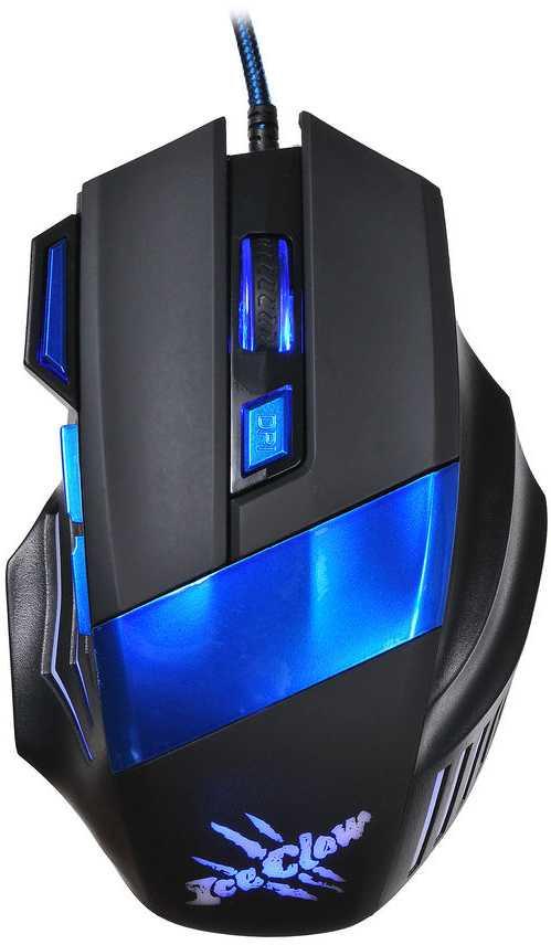 Мышь Oklick 775G Ice Claw черный/синий оптическая (2400dpi) USB игровая (6but)