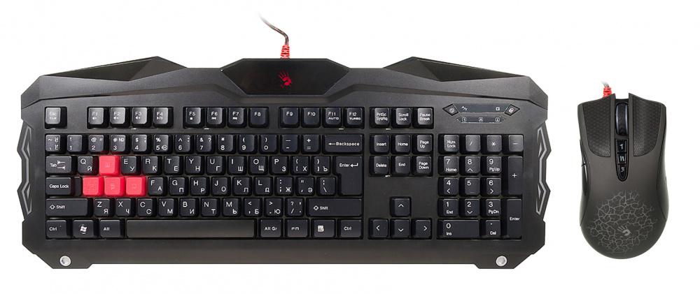 Клавиатура + мышь A4 Bloody Q2100/B2100 (Q210+Q9) клав:черный мышь:черный USB Multimedia Gamer LED