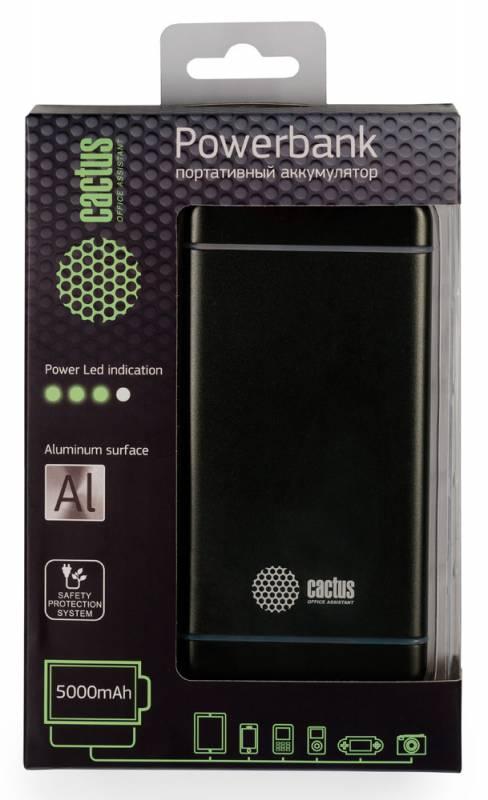 Мобильный аккумулятор Cactus CS-PBMS028-5000SG Li-Pol 5000mAh 2.1A графит 1xUSB