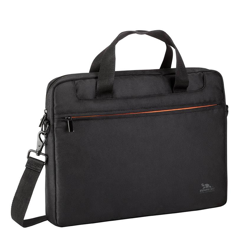 """Сумка для ноутбука 15.6"""" Riva 8033 черный/оранжевый полиэстер"""