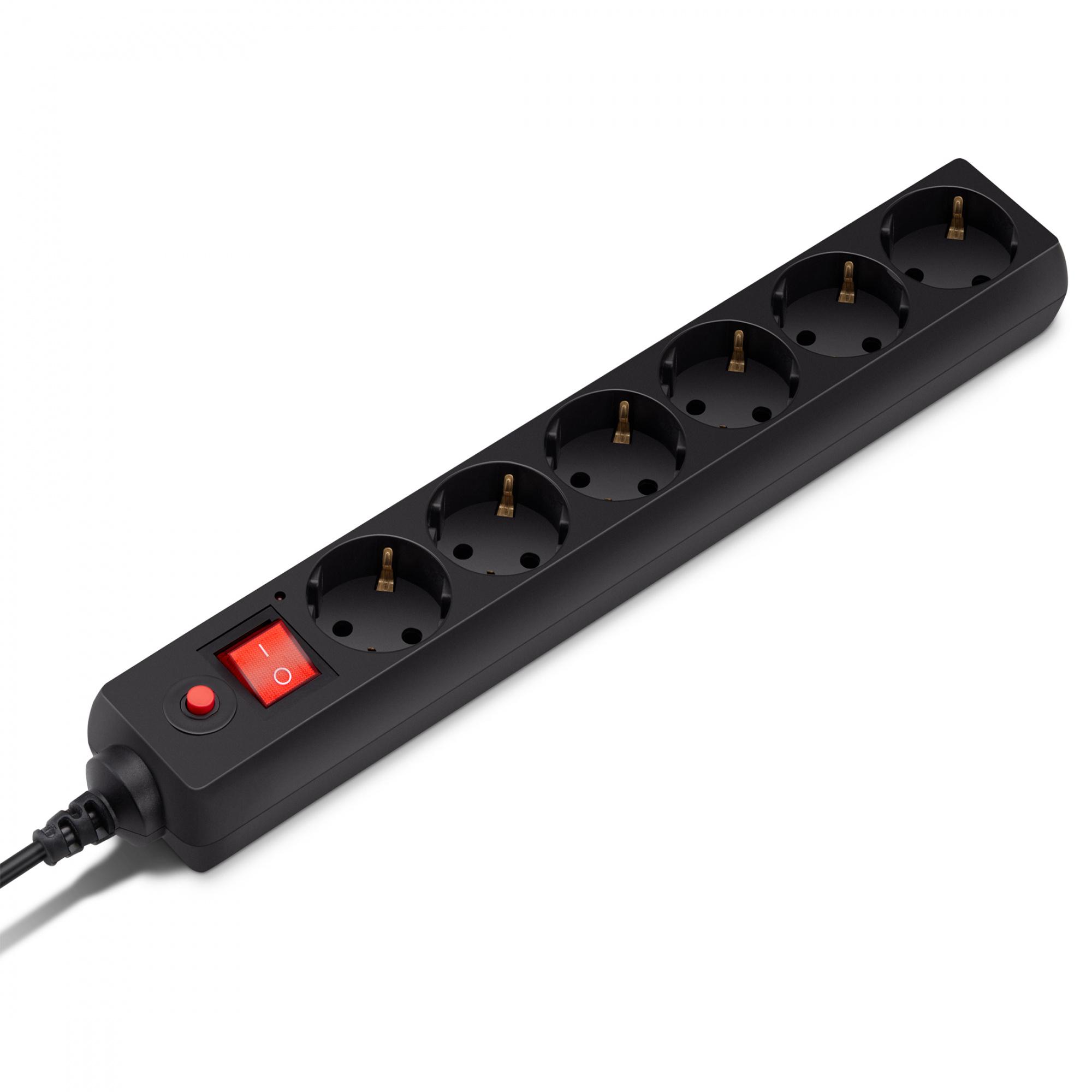 Сетевой фильтр Buro 600SH-1.8-B 1.8м (6 розеток) черный (коробка)