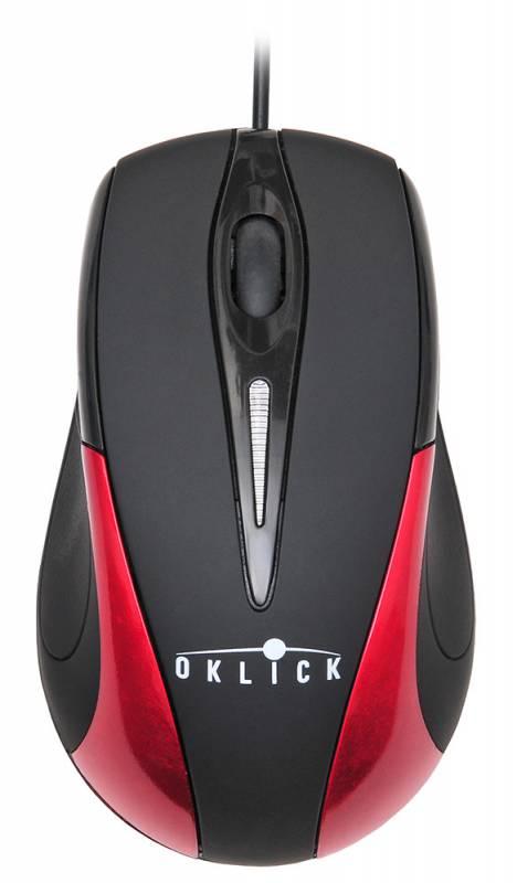 Мышь Oklick 235M черный/красный оптическая (800dpi) USB (2but)