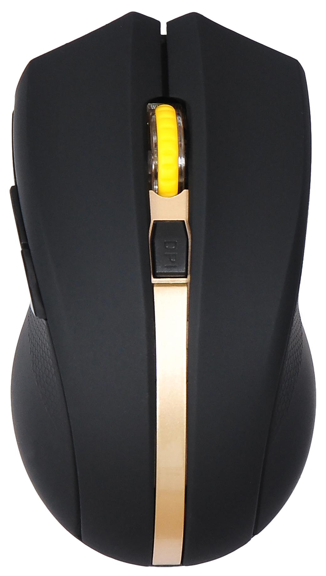 Мышь Oklick 495MW черный/золотистый оптическая (1600dpi) беспроводная USB (6but)
